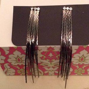 Jewelry - Gunmetal fringe earrings NWT